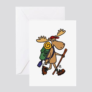 Moose Hiking Greeting Cards