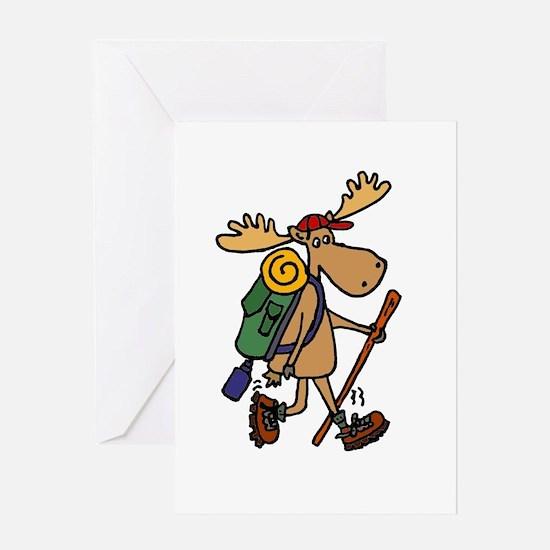 Moose Hiking Greeting Cards