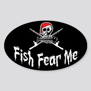 Fish Fear Me Oval Sticker