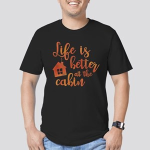 Life's Better Cabin Men's Fitted T-Shirt (dark)