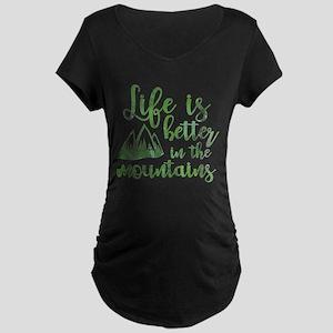 Life's Better Mountains Maternity Dark T-Shirt