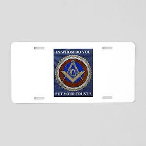 A Mason's Trust Aluminum License Plate