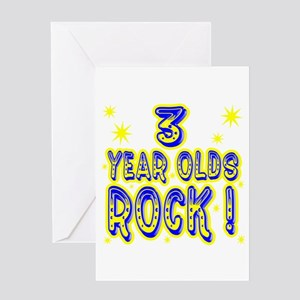 3 Year Olds Rock ! Greeting Card