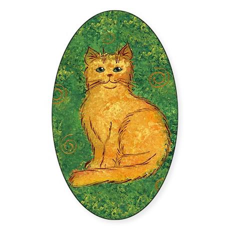 Golden Kitty Oval Sticker