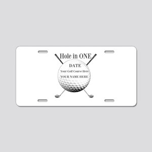 Hole In One Aluminum License Plate
