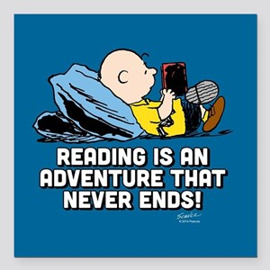 "Charlie Brown - Reading Square Car Magnet 3"" x 3"""