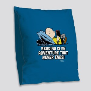 Charlie Brown - Reading is an Burlap Throw Pillow
