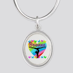 PERSONALIZE GYMNAST Silver Oval Necklace