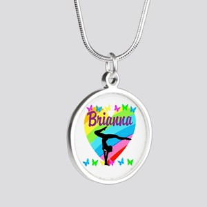 PERSONALIZE GYMNAST Silver Round Necklace