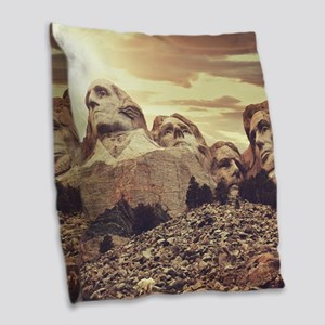 Mount Rushmore Burlap Throw Pillow