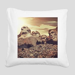 Mount Rushmore Square Canvas Pillow