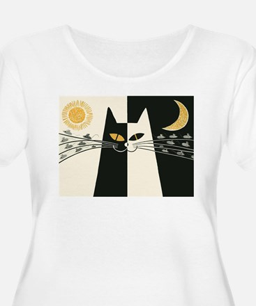 Black and White Cat; Vintage Poster Plus Size T-Sh