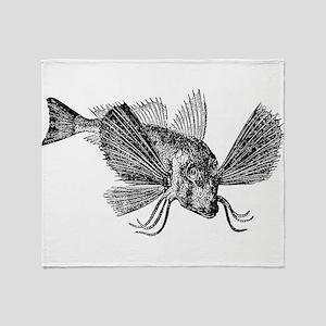 Vintage Sapphirine Gurnard Fish Blac Throw Blanket
