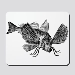 Vintage Sapphirine Gurnard Fish Black Wh Mousepad