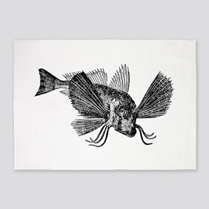 Vintage Sapphirine Gurnard Fish Bla 5'x7'Area Rug