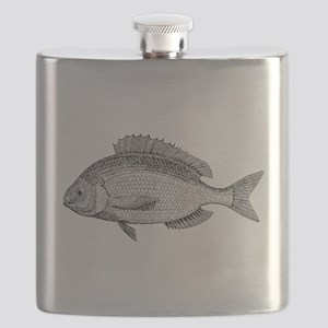 Vintage Sea Bream Fish Black White Flask