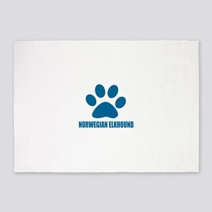Norwegian Elkhound Dog Designs 5'x7'Area Rug