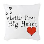 Little Paws Big Heart Woven Throw Pillow