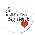 Little Paws Big Heart Round Car Magnet