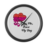 Love Me, Love My Dog Large Wall Clock