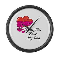 Love Me, Love My Dog Large Wall Clock