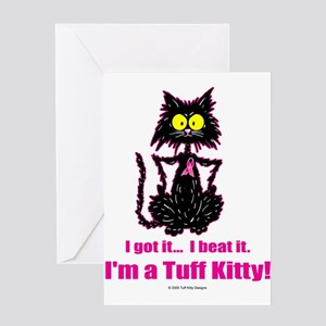 BREAST CANCER Cat - Greeting Cards