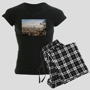 Barcelona aerial view Women's Dark Pajamas