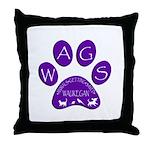 WagsLogo1_Purple Throw Pillow