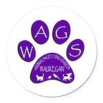WagsLogo1_Purple Round Car Magnet