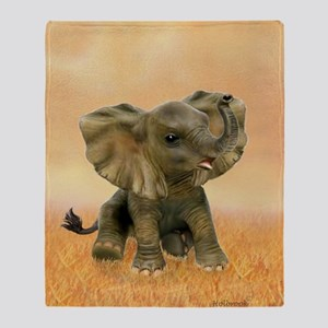Beautiful African Baby Elephant Throw Blanket