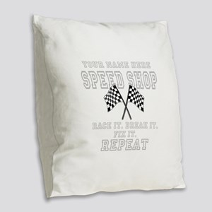 Racing Speed Shop Burlap Throw Pillow
