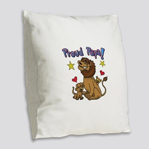 proud Papa For Father's Day! Burlap Throw Pillow