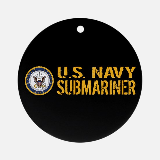 U.S. Navy: Submariner (Black) Round Ornament