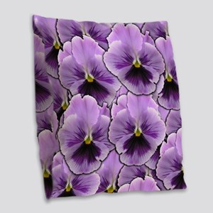 Pansy Patch Burlap Throw Pillow