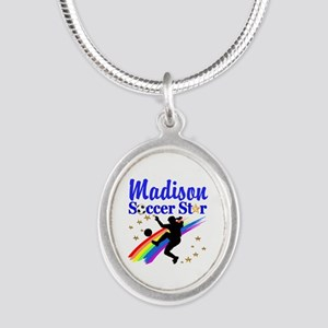 PERSONALIZE SOCCER Silver Oval Necklace