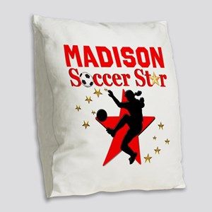 PERSONALIZE SOCCER Burlap Throw Pillow