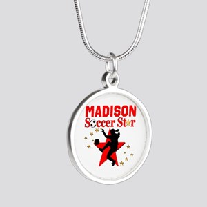PERSONALIZE SOCCER Silver Round Necklace
