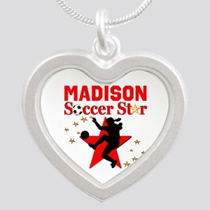 PERSONALIZE SOCCER Silver Heart Necklace