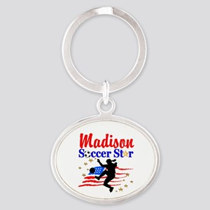 PERSONALIZE SOCCER Oval Keychain