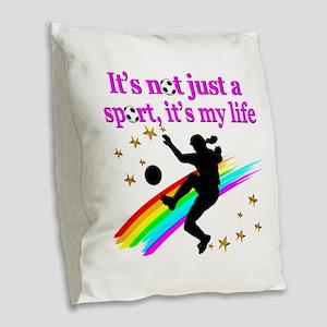 SOCCER PLAYER Burlap Throw Pillow