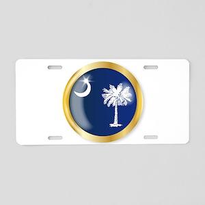 South Carolina Flag Button Aluminum License Plate