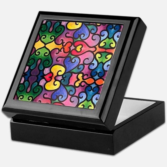 Abstract Heart Design Keepsake Box