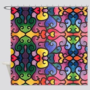 Abstract Heart Design Shower Curtain