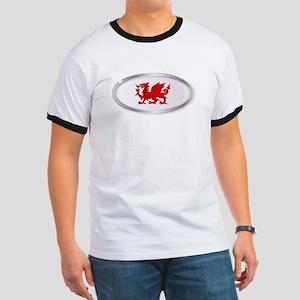 Welsh Dragon Oval Button T-Shirt