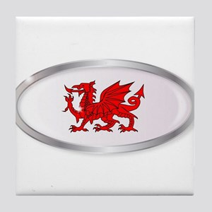 Welsh Dragon Oval Button Tile Coaster