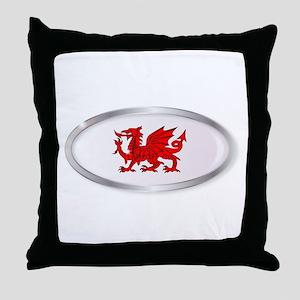 Welsh Dragon Oval Button Throw Pillow