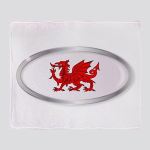 Welsh Dragon Oval Button Throw Blanket