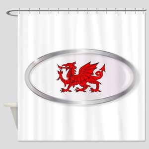 Welsh Dragon Oval Button Shower Curtain