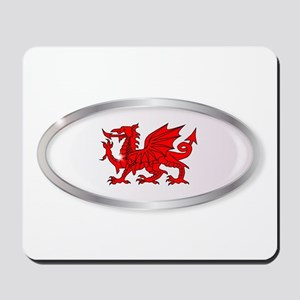 Welsh Dragon Oval Button Mousepad