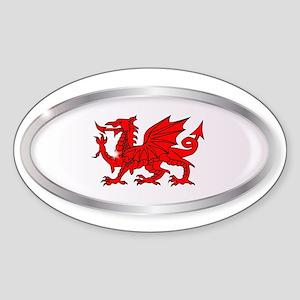 Welsh Dragon Oval Button Sticker